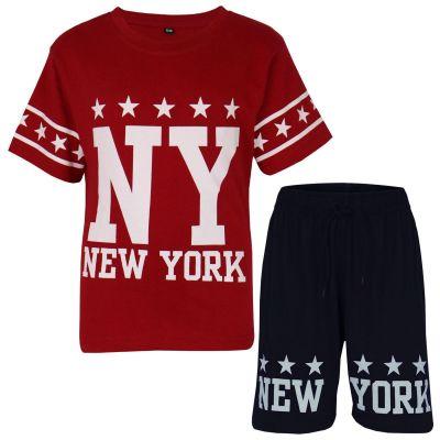 A2Z Trendz Kids Boys Girls T Shirt Short Set Designer's Red 100% Cotton NY New York Print T-Shirt Top & Shorts Set Age 5 6 7 8 9 10 11 12 13 Years