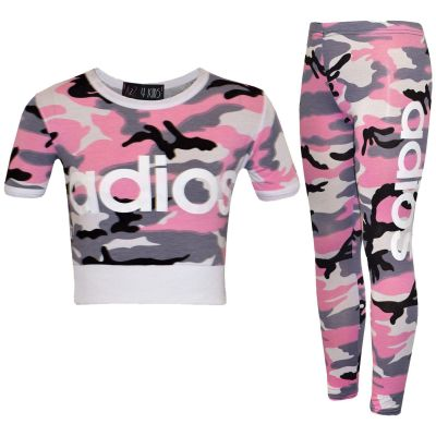 A2Z Trendz Kids Girls Adios Print Crop Top & Legging Set Camouflage Baby Pink Tracksuit Jogging Suit New Age 7-13 Years