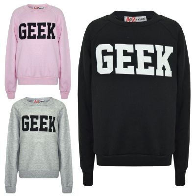 A2Z Trendz Kids Top Girls Boys GEEK Print Sweat Shirt Tops Jumper Shirt New Age 7 8 9 10 11 12 13 Years