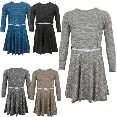 Girls Long Sleeves Knitted Skater Dress