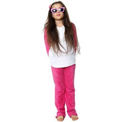 Kids Girls Boys Plain Pyjamas Pink Loungewear Flannel Fleece Nightwear PJS.
