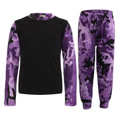 Kids Girls Boys Pyjamas Contrast Camouflage Purple Print Stylish Pajamas Nightwear Pjs.
