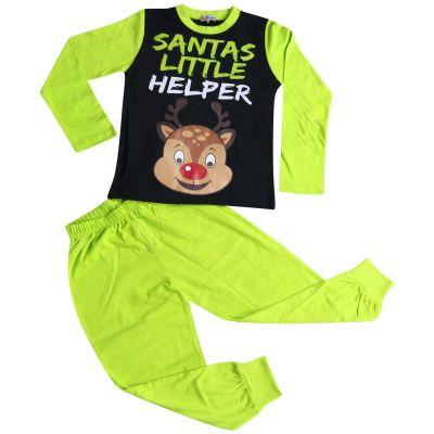 A2Z Trendz Kids Girls Boys Pyjamas Santas Little Helper Reindeer Print Stylish Lime Contrast Sleeves Pajamas Xmas Set New Age 2 3 4 5 6 7 8 9 10 11 12 13 Years