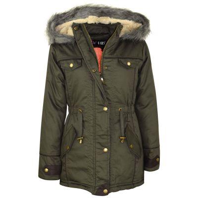 A2Z Trendz Kids Girls Hooded Jacket Faux Fur Parka School Jane Jackets Outwear Coats New Age 7 8 9 10 11 12 13 Years