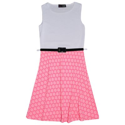 A2Z Trendz Girls Skater Dress Kids Designer's Floral Neon Pink & White Contrast Panel Summer Party Dresses With A Free Belt New Age 7 8 9 10 11 12 13 Years