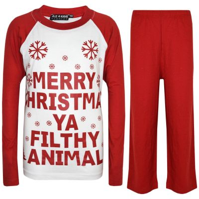 A2Z Trendz Kids Girls Boys PJS Merry Christmas Ya Filthy Animal Print Red Christmas Pajamas Set Age 2 3 4 5 6 7 8 9 10 11 12 13 Years