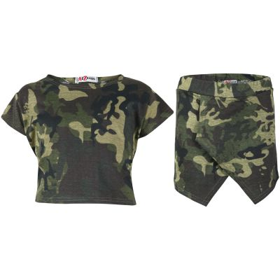 A2Z Trendz Kids Girls Tops Camouflage Green Print Crop Top & Skort Skirt Shorts 2 Piece Fashion Summer Outfit Clothing Set New Age 7 8 9 10 11 12 13 Years
