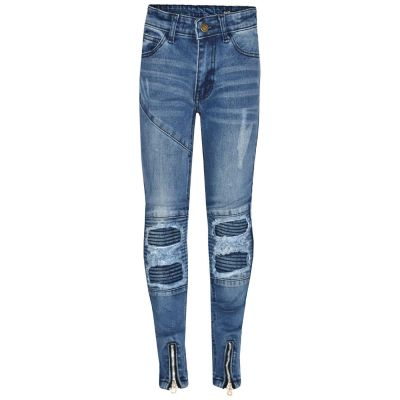 A2Z Trendz Kids Girls Stretchy Jeans Designer's Mid Blue Ripped Knee Drape Panel Denim Pants Fit Trousers New Age 5 6 7 8 9 10 11 12 13 Years