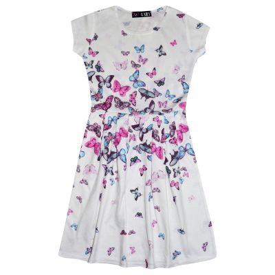 A2Z Trendz Girls Skater Dress Kids Designer's Butterfly Print Summer Party Fashion Dresses New Age 7 8 9 10 11 12 13 Years