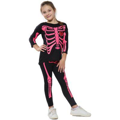 Kids Girls Skeleton Print Black & Neon Pink Halloween T Shirt Top & Legging Set