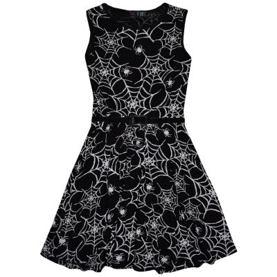 A2Z Trendz Kids Girls Skater Spidr Web Print Party Fashion Sleeveless Dresses Halloween Costume Age 7 8 9 10 11 12 13 Years
