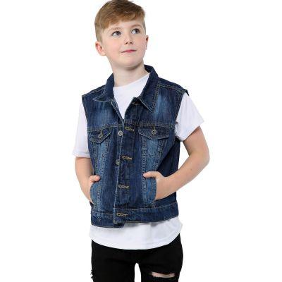 A2Z Trendz Kids Boys Denim Dark Blue Jacket Designer's Fashion Jeans Gilet Faded Stylish Sleeveless School Jackets Coats New Age 3 4 5 6 7 8 9 10 11 12 13 Years