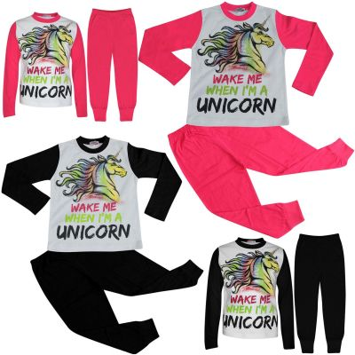 A2Z Trendz Kids Girls Pajamas Designer's Wake Me When I'M A Unicorn Print Contrast Sleeves Stylish Pyjamas Loungewear Nightwear PJS New Age 5 6 7 8 9 10 11 12 13 Years