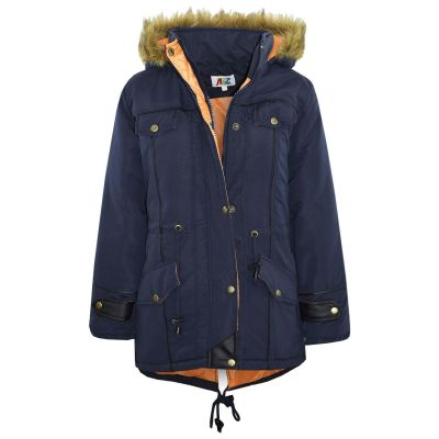 Kids Girls Jacket DESIGNER'S Navy Parka Coat Faux Fur Hooded Top Christmas Gift New Age 3-13 Years