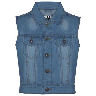 A2Z Trendz Kids Boys Denim Light Blue Jacket Designer's Fashion Jeans Gilet Faded Stylish Sleeveless School Jackets Coats New Age 3 4 5 6 7 8 9 10 11 12 13 Years