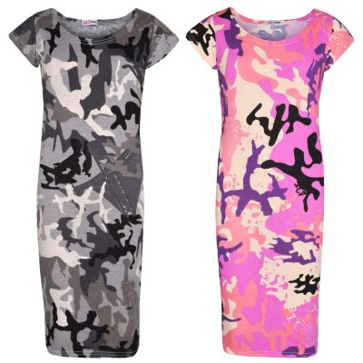 A2Z Trendz Girls Dress Kids Designer's Camouflage Print Summer Party Bodycon Fashion Midi Dresses New Age 5-13 Years
