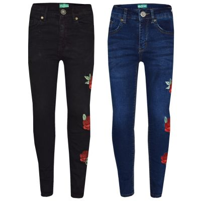 A2Z Trendz Girls Stretchy Jeans Kids Rose Embroidered Denim Pants Fashion Trousers Jeggings Age 5 6 7 8 9 10 11 12 13 Years