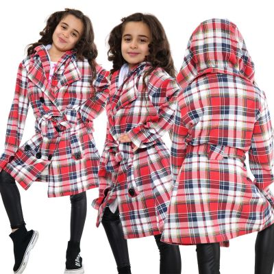 Kids Girls Hooded Trench Coat Fashion Warm Multi Check Jacket Oversized Lapels Belted Cuffs Long Overcoat.