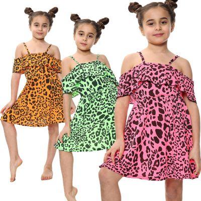 Kids Girls Off Shoulder Dress Leopard Print Summer Party Fashion Top Skater Dresses