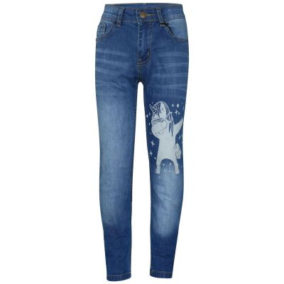 A2Z Trendz Kids Girls Jeans Designer's Unicorn Dab Light Blue Denim Stretchy Pants Fashion Slim Fit Trousers New Age 5 6 7 8 9 10 11 12 13 14 Years