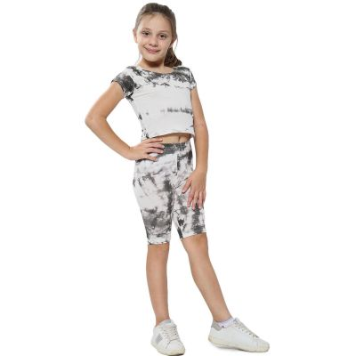 A2Z Trendz Kids Girls Crop Top & Cycling Shorts Grey Tie Dye Print Trendy Fashion Summer Clothing Outfit Crop & Short Sets New Age 5 6 7 8 9 10 11 12 13 Years