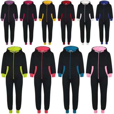 A2Z Trendz Kids Girls Boys Contrast Fleece Onesie All In One Jumsuit Playsuit Nightwear New Age 2 3 4 5 6 7 8 9 10 11 12 13 Years