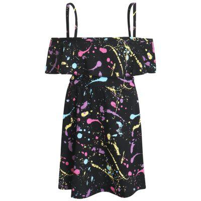 A2Z Trendz Girls Off Shoulder Dress Designer's Pastel Splash Print Fashion Party Top Summer Dresses New Age 5 6 7 8 9 10 11 12 13 Years