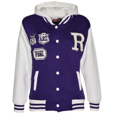 Kids Girls Designer R Fashion Baseball Purple Hooded Jacket Varsity Hoodie 2-13Y