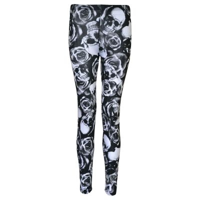 Girls Legging Skull & Roses Print Stylish Fashion Dance Party Leggings 7 8 9 10 11 12 13 Years