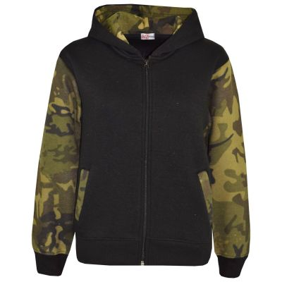 A2Z Trendz Boys Girls Jackets Kids Camouflage Green Print Fleece Hooded Hoodie Zipped Top Jackets New Age 5-13 Years