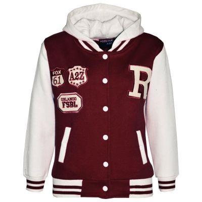 Kids Girls Boys Designer's R Fashion Baseball Wine Hooded Jackets Varsity Hoodie