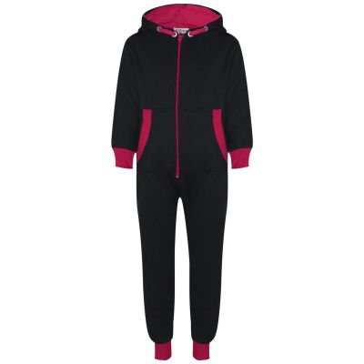 A2Z Trendz Kids Girls Pink Contrast Fleece Onesie All In One Jumsuit Playsuit Nightwear New Age 2 3 4 5 6 7 8 9 10 11 12._13 Years