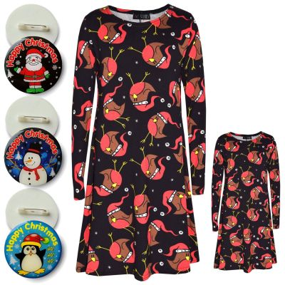 A2Z Trendz Girls Xmas Dress Kids Santa Chic Print Christmass Dresses With A Free Xmas Badge New Age 5 6 7 8 9 10 11 12 13 Years