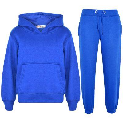 Girls Plain Royal Blue Hooded Tracksuit