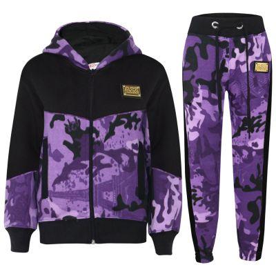 Kids Girls Designer A2Z Camouflage Purple Contrast Tracksuit Hooded Jogging Suit