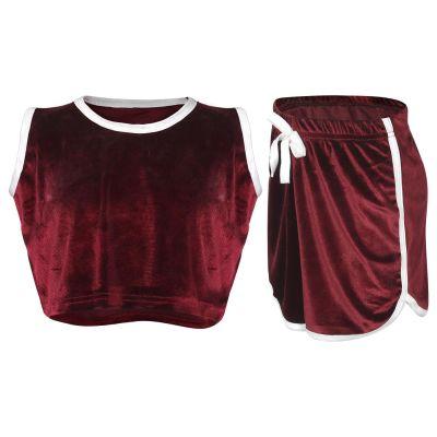 Girls Velour Crop & Shorts Set