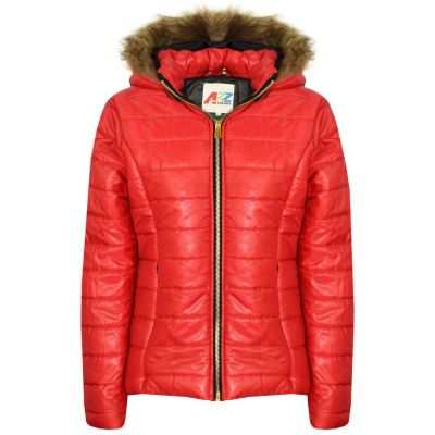 A2Z Trendz Kids Girls Jacket Red Puffer Hooded Padded Quilted Faux Fur Detachable Hood Warm Thick Coats New Age 5 6 7 8 9 10 11 12 13 Years