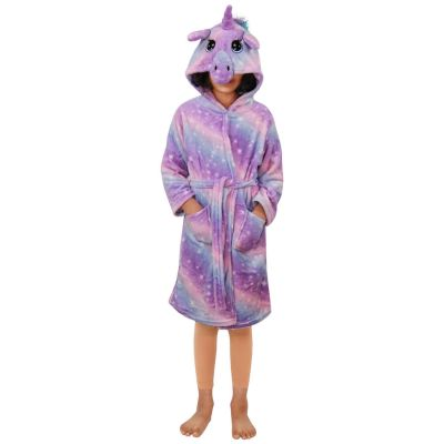 A2Z Trendz Kids Girls Unicorn Hooded Bathrobe Extra Soft Fluffy 3D Lilac Galaxy Print Xmas Cosplay Costume Loungewear Nightwear Gown Suit New Age 2-13 Years