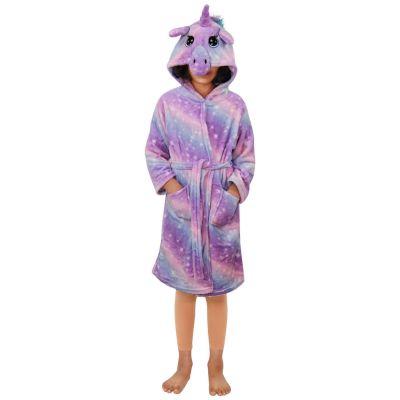 A2Z Trendz Kids Girls Unicorn Hooded Bathrobe Extra Soft Fluffy 3D Lilac Galaxy Print Xmas Cosplay Costume Loungewear Nightwear Gown Suit New Age 2-13 Years