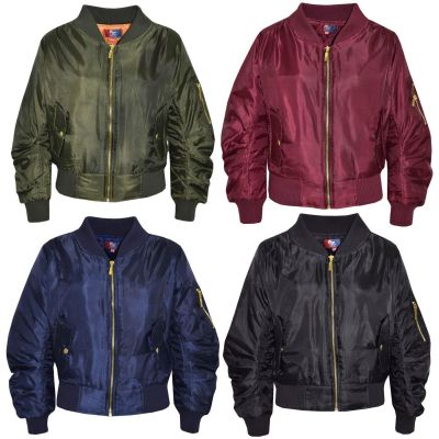 A2Z Trendz Kids Jacket Girls Boys MA1 Ruched Sleeves Bomber Padded Zip Up Biker Jacktes MA 1 Coat New Age 3 4 5 6 7 8 9 10 11 12 13 Years