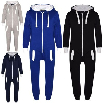 A2Z Trendz Kids Fleece Onesie Girls Boys Plain Color All In One Jumsuit Playsuit Nightwear New Age 7 8 9 10 11 12 13 Years