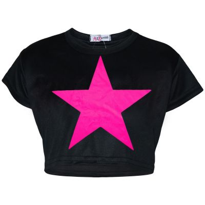 A2Z Trendz Kids Girls Crop Top Designer Star Print Black Stylish Trendy Fashion T Shirt Tops New Age 5 6 7 8 9 10 11 12 13 Years