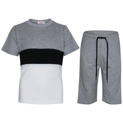 Boys Girls Shorts Set 100% Cotton Contrast Panel Grey T Shirt Top & Short Pants Sportswear Outfit Clothing Sets New Age 5-13 Years