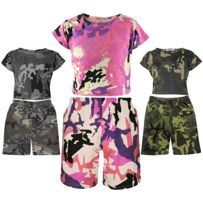 A2Z Trendz Kids Girls Crop Top & Cycling Shorts Camouflage Print Trendy Fashion Summer Outfit Short Sets New Age 5 6 7 8 9 10 11 12 13 Years