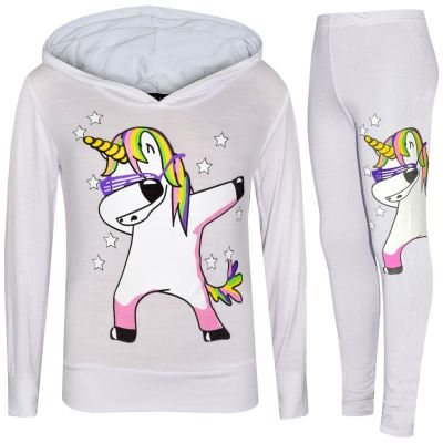 A2Z Trendz Kids Girls Tracksuit Designer's Rainbow Unicron Dab Floss Print White Hooded Crop Top & Legging Lounge Wear Set New Age 7 8 9 10 11 12 13 Years