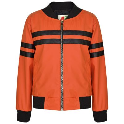 A2Z Trendz Kids Boys PU Leather Jackets Contrast Striped Orange Zip Up Mock Neck Varsity Baseball Fashion School Jacket Bikers Coats New Age 5 6 7 8 9 10 11 12 13 Years