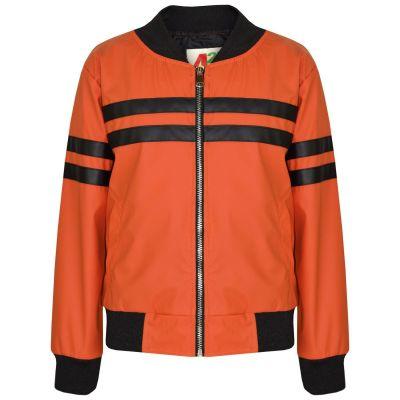 A2Z Trendz Kids Boys PU Leather Jackets Contrast Striped Orange Zip Up Mock Neck Varsity Baseball Fashion School Jacket Bikers Coats New Age 5 6 7 8 9 10 11 12 13 Years