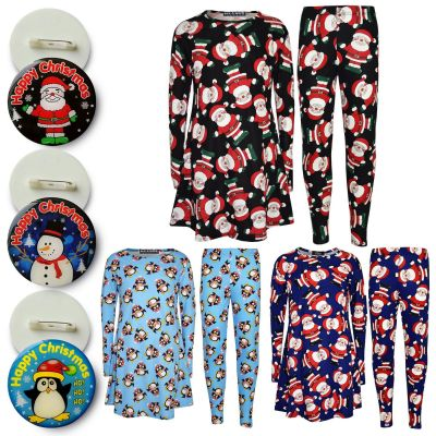 A2Z Trendz Girls Dress Kids Christmas Santa Penguin Print Dresses & New Xmas Fashion Legging Set With A Beautiful Free Badge Age 7 8 9 10 11 12 13 Years