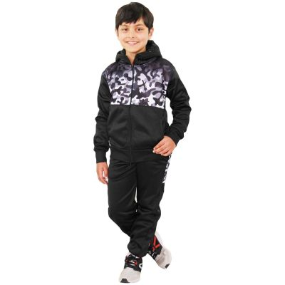A2Z Trendz Kids Boys Girls Tracksuit Grey Camouflage Panelled Hooded School Fashion Zipped Top & Bottom Gym Wear Workout Jogging Suit Sports Joggers New Age 5 6 7 8 9 10 11 12 13 Years