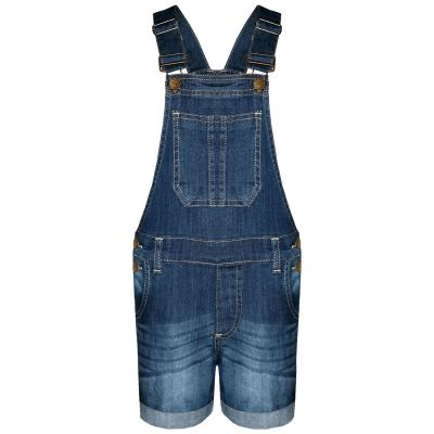 A2Z Trendz Kids Girls Dungaree Shorts Designer's Dark Blue Denim Stretch Jeans Jumpsuit Playsuit All In One Age 5 6 7 8 9 10 11 12 13 Years
